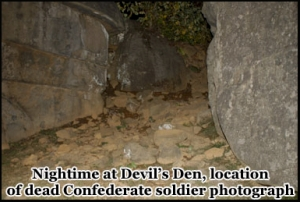Night time at Devils Den, location of the famous dead Confederate soldier photograph