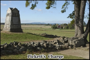 Monument commemorating Pickett's Charge which ending with a 50 percent causality rate