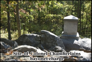 The location of Colonel Chamberlains bayonet charge on Little Round Top
