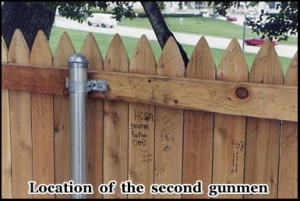 The fence next to the grassy knoll, possible location of a second gunman