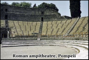 The Roman amphitheater in Pompeii is one of the best preserved in Italy
