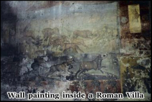 The wall painting inside the Roman Villas were preserved beneath the volcanic ash