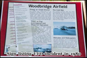 Official sign depicted the 1980 Rendlesham UFO incident