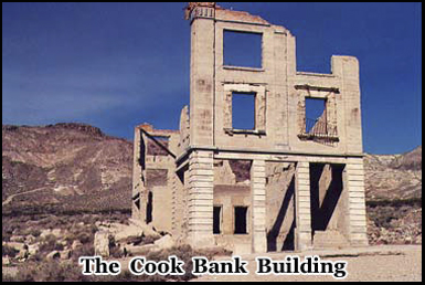 The ruins of the Cook Bank building still stand in Rhyolite ghost town