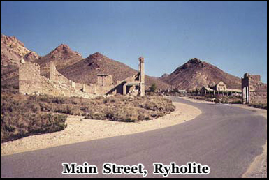 The now deserted main street of Rhyolite