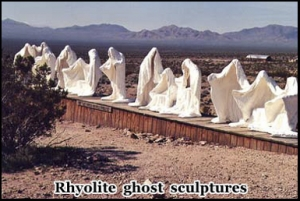 Ghostly art sculptures in Death Valley