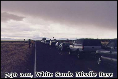 7.30 AM waiting to be escorted through the White Sands Missile Base