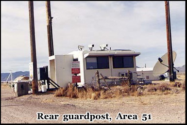 The unmanned guard-post at the rear of the top secret base