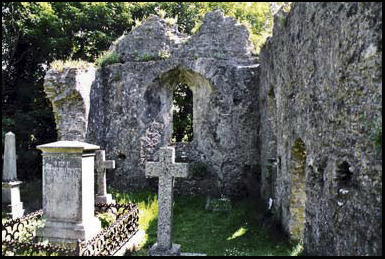 The burnt out ruins of Holy Trinity Church in Dartmoor