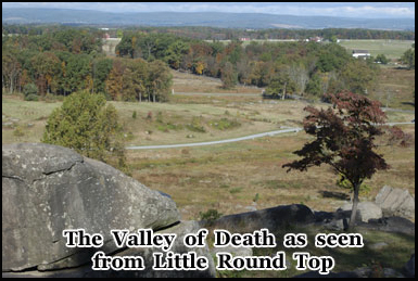 The Valley of Death as seen from the peak of Little Round Top