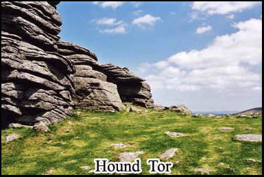 A ghostly black dog with fiery red eyes has been seen at Hound Tor