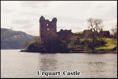 The ruins of Urquart Castle on the shore of Loch Ness