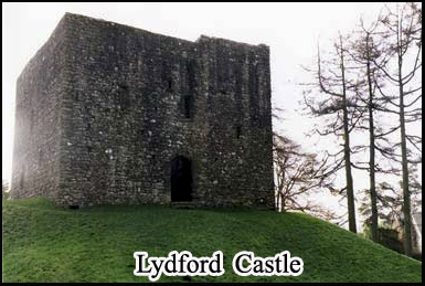 The ghostly ruins of Lydford Castle in Dartmoor National Park