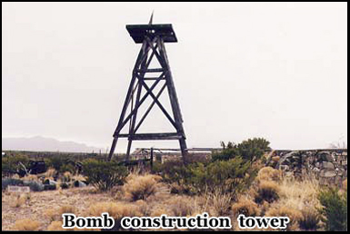 This is the bomb construction tower at the read of the Macdonald Ranch House