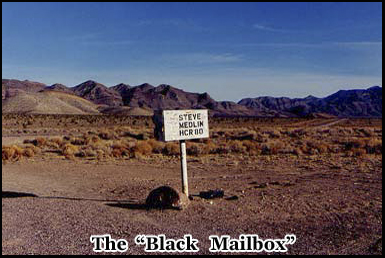 The famous Black Mailbox, owned by rancher Steve Medlin