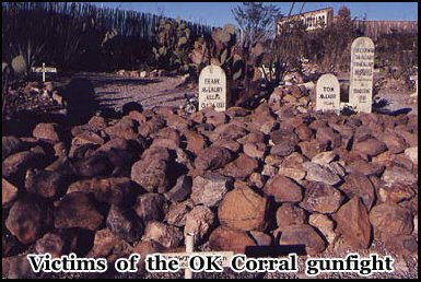 Several outlaws are buried in Boothill Graveyard including victims of the O.K Corral