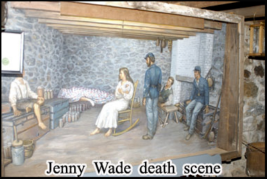 A depiction of the death scene in the cellar of the house