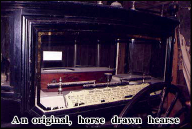 An original horse drawn hearse is one of the exhibits in the Birdcage Theatre
